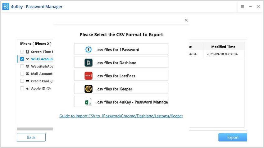 export password - ios password manager