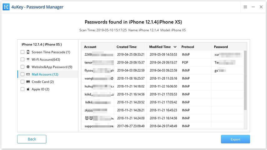 mail account - 4ukey password manager