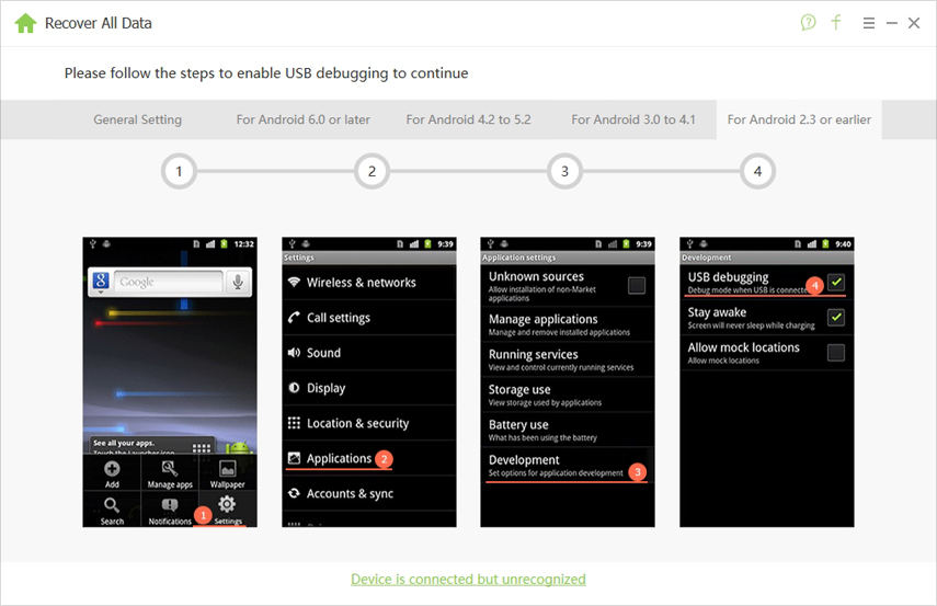 android 2.3 or earlier usb debugging