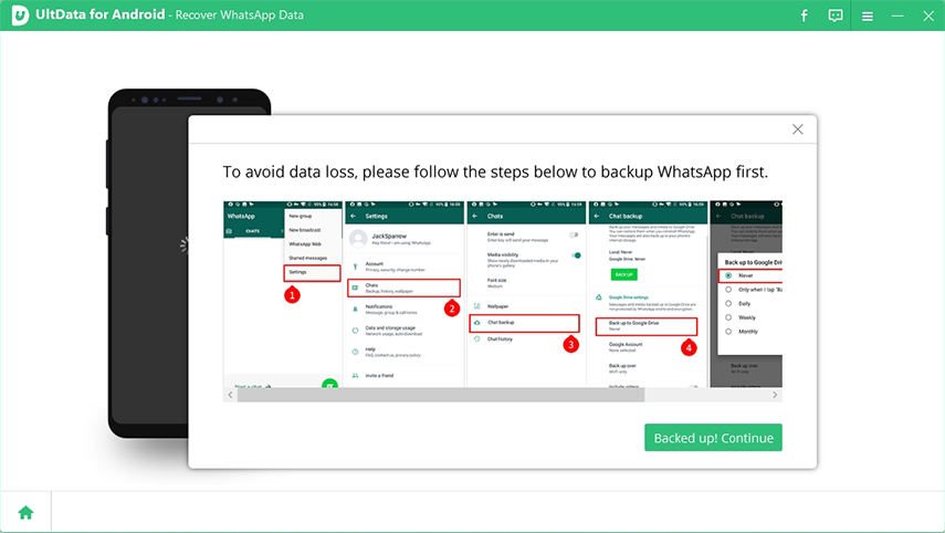 ultdata for android prompts to backup whatsapp