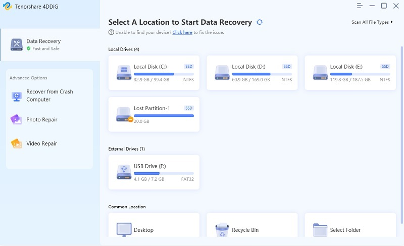 select files location - windows data recovery guide