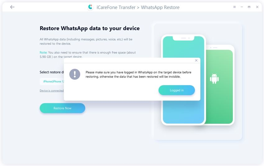 logging into WhatsApp before restoring - guide