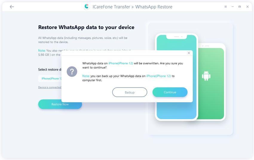 restore whatsapp data will be overwritten