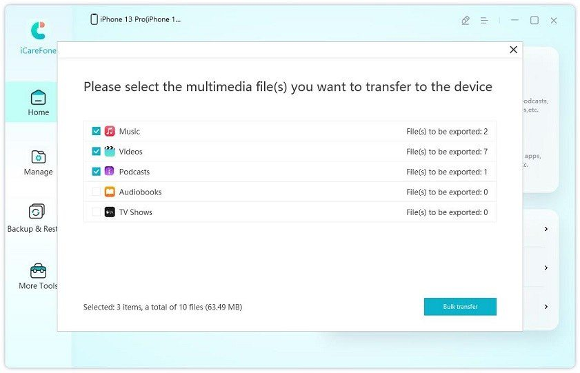 transfer device media files to itunes