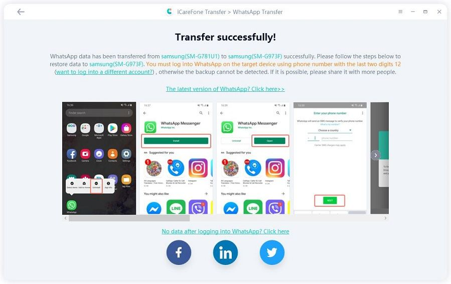 transfer whatsapp from iphone to android successfully