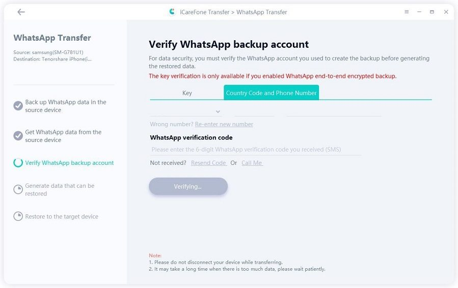 verifying whatsapp account