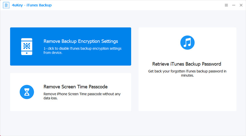 select remove backup encryption settings - 4ukey itunes backup guide