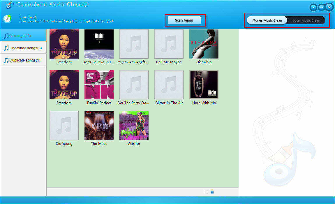 scan itunes library