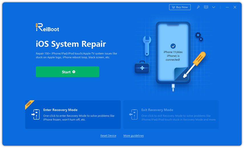 slect reiboot feature repair ios system
