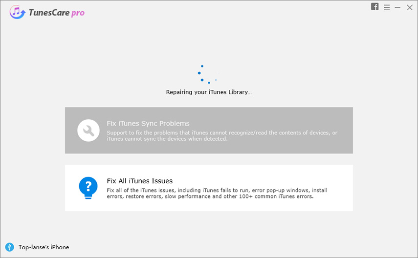 tunescare starts to repair itunes problems