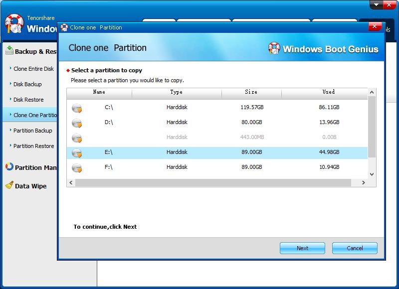 clone one partition