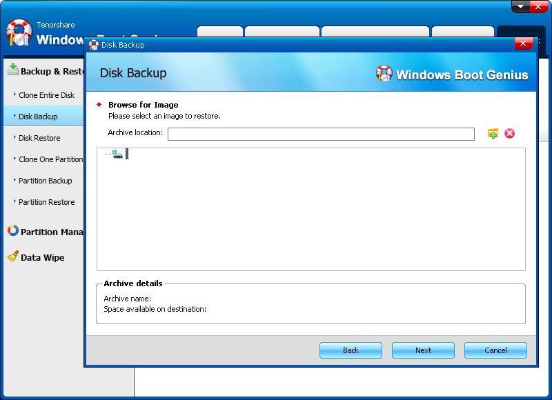 select image to backup - Windows Boot Genius