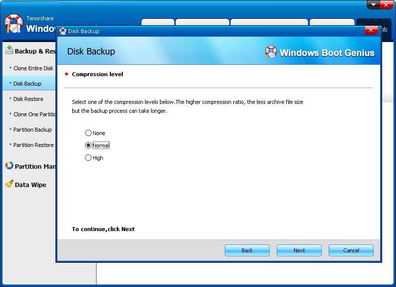select compression level - Windows Boot Genius
