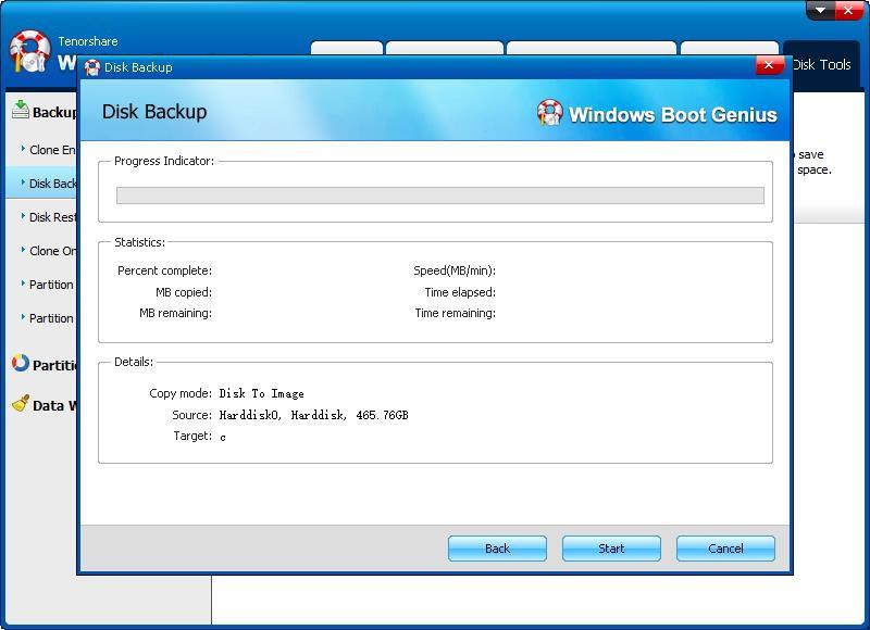 start disk backup - Windows Boot Genius