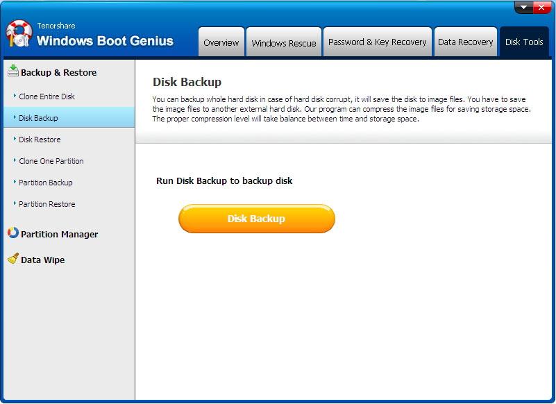 disk backup - Windows Boot Genius