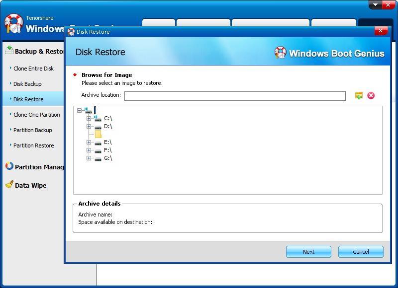 select image to restore disk - Windows Boot Genius