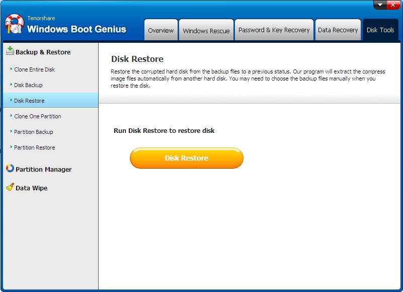 disk restore - Windows Boot Genius