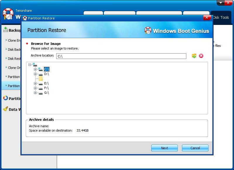 select partition to restore - Windows Boot Genius