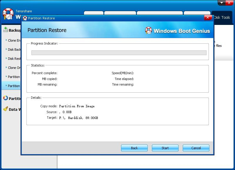 partition restore completed - Windows Boot Genius