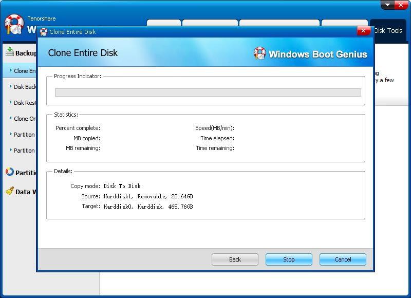 start clone disk with Windows Boot Genius