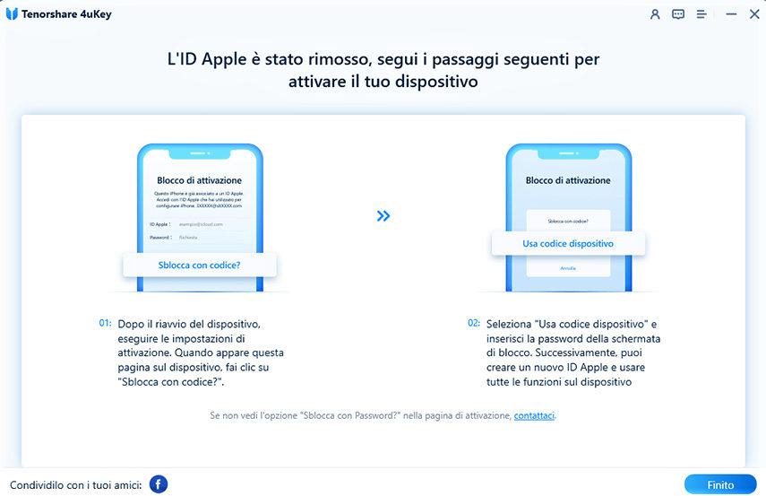 Rimozione l'ID Apple riuscita