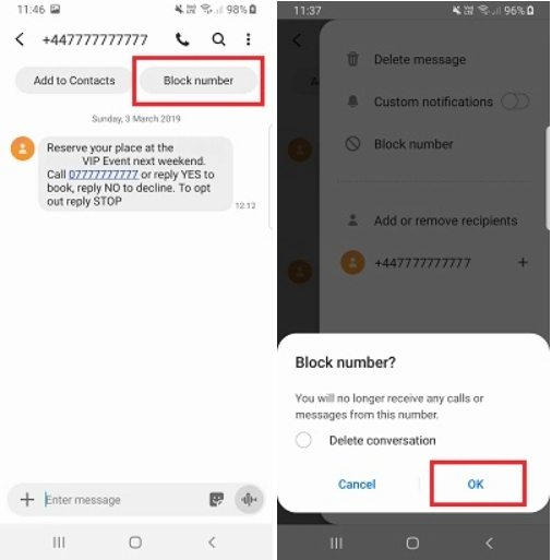 how to block texts android