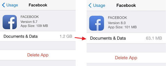 How to delete documents data in facebook from my iphone storage clear document and data in facebook from iphone ccuart Image collections