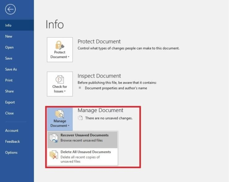how to recover unsaved excel file 365