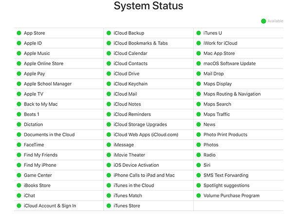 apple server status