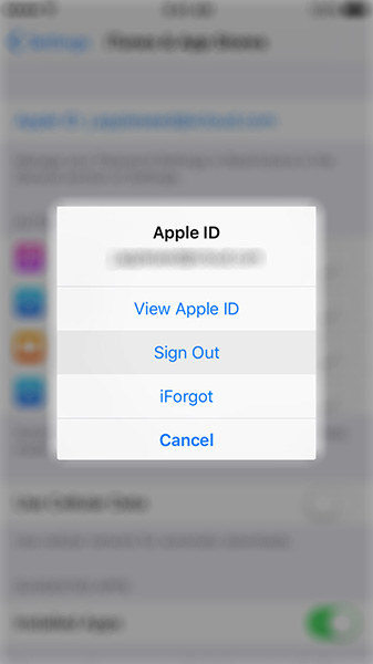 sign out apple id