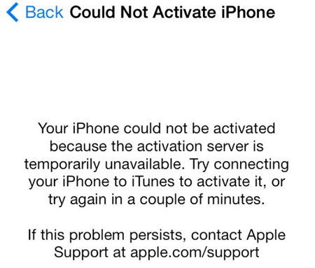 could not activate iphone