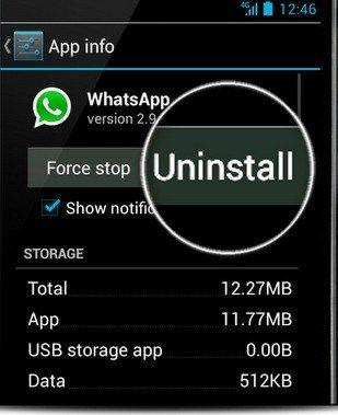 unintall whatsapp on andorid