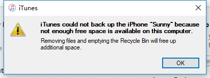 Fix iTunes could not Backup the iPhone Not Enough Space on