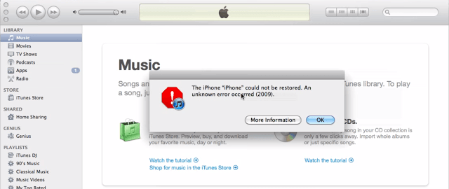 How to fix iTunes error 2009 on Mac or PC