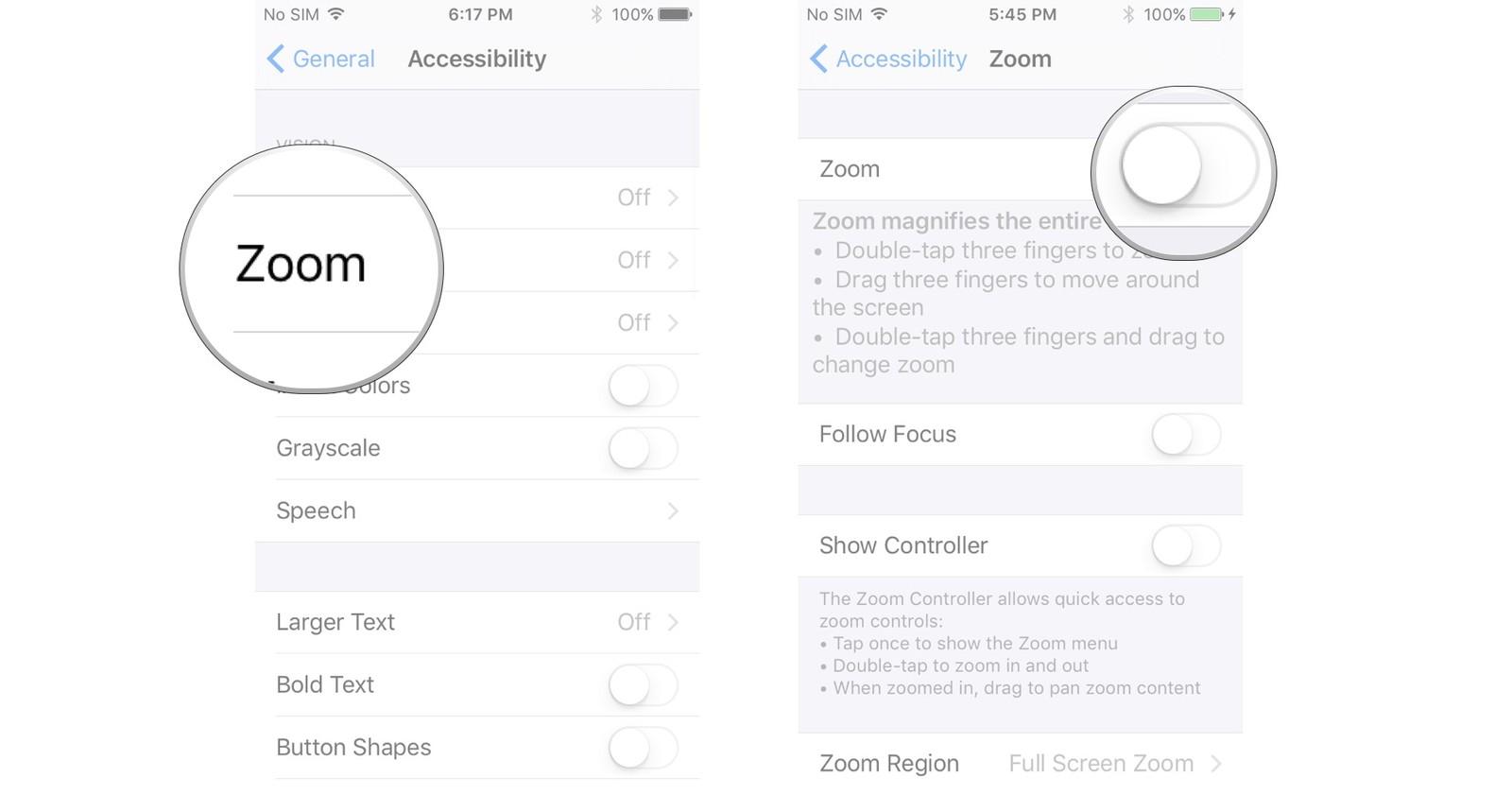 iphone zoom settings