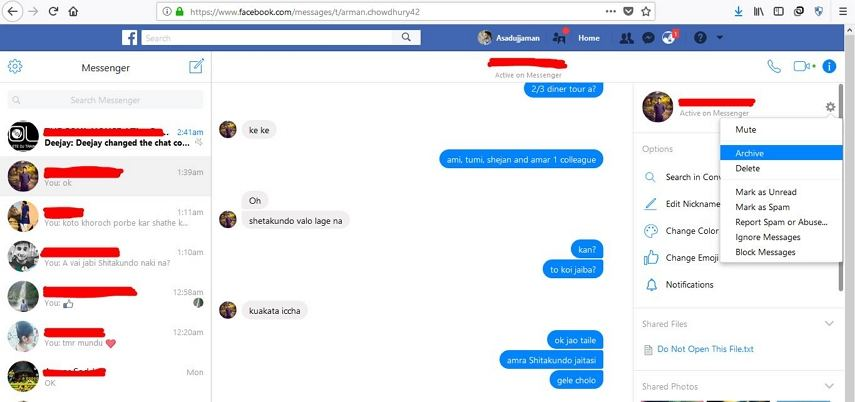 how to find ur archive messages for facebook messanger