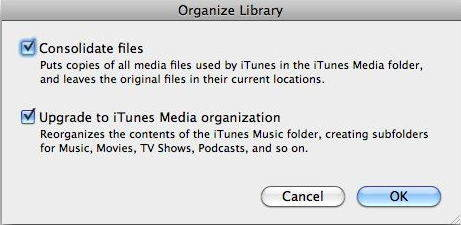 Consolidating itunes library failed back