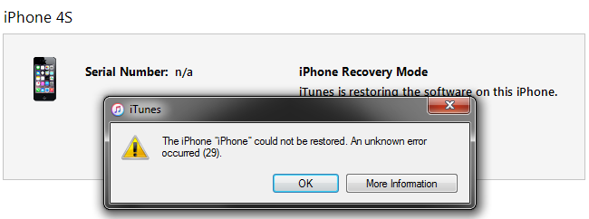 Updating iphone 4s error 6