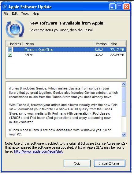 iTunes update in windows os