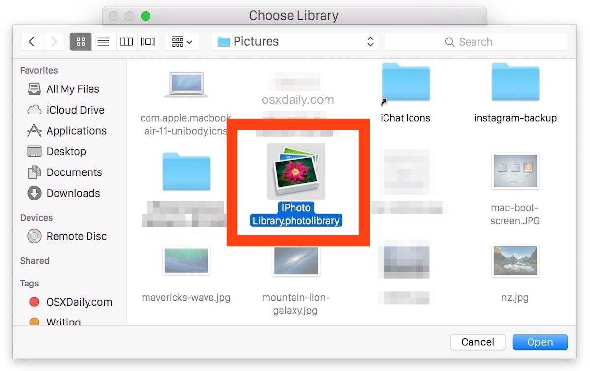 How backup iphoto library to